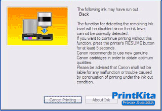 cara mengatasi Ink run out printer canon